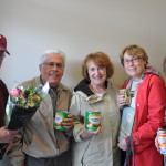 Long ago students of Mary Jane Smith's, they surprised her with flowers and food for the pantry.